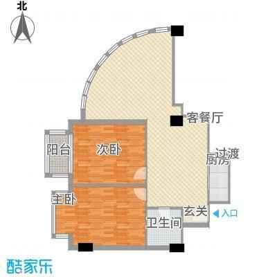 万勃温泉海景山庄128.11㎡C户型2室2厅2卫1厨