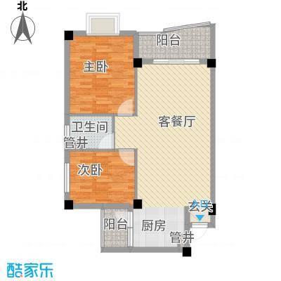 文罗山庄78.10㎡H栋户型2室2厅