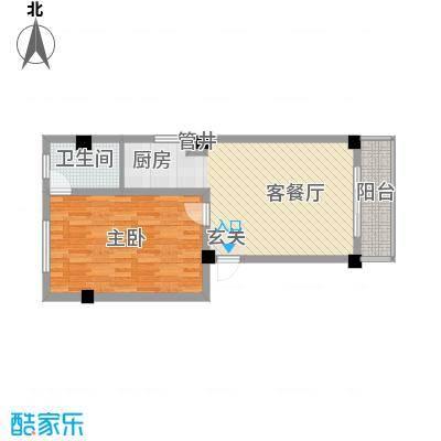 文罗山庄62.63㎡B栋户型1室2厅