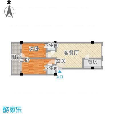 荣明花园1.10㎡312-912户型2室2厅2卫1厨