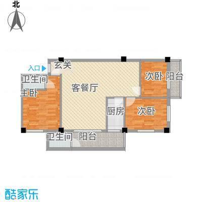 荣明花园14.54㎡314-914户型3室2厅2卫1厨