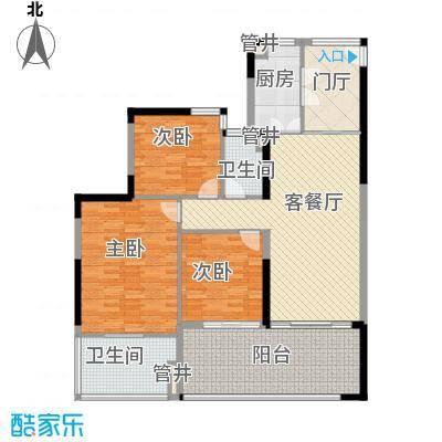 华润・石梅湾九里127.00㎡二期E1户型3室2厅2卫1厨