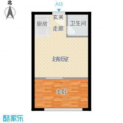 风筝恋雅舍4.45㎡B户型1室1厅1卫1厨