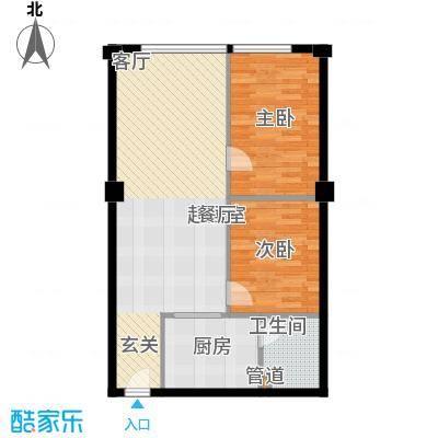 风筝恋雅舍71.88㎡C户型2室2厅1卫1厨