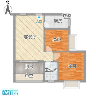 合兴福邸67.38㎡D户型2室2厅1卫1厨