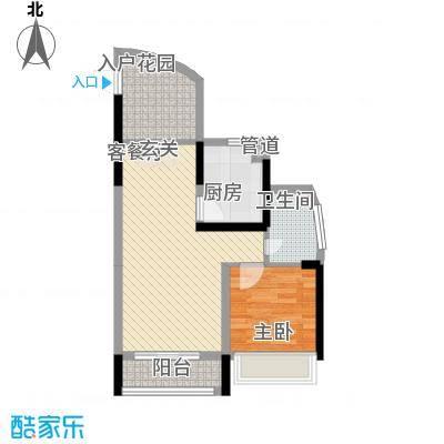 鸿洲・天玺D3户型1室2厅1卫1厨