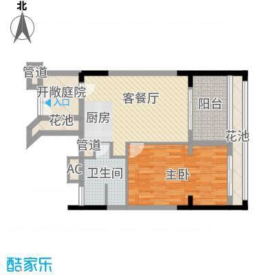 双大・野奢世界58.00㎡一居户型1室1厅1卫1厨