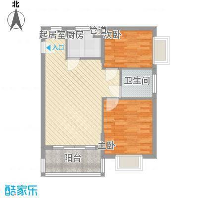 澜香溪谷77.38㎡二期A户型2室2厅1卫
