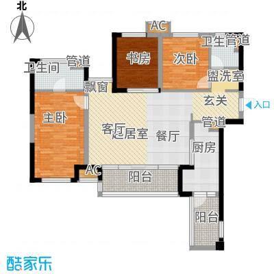 万科金域名邸二期1号楼标准层M户型3室2厅2卫1厨