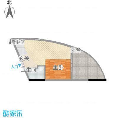 晋唐海湾58.00㎡酒店B户型1室2厅1卫1厨