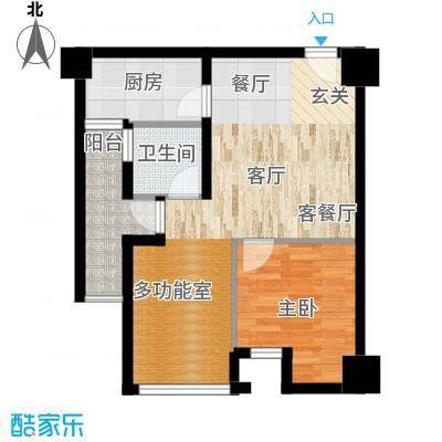 司南3空间45.00㎡2号楼S户型2室1厅1卫1厨