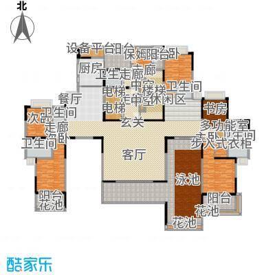 誉峰36.00㎡一期7号楼标准层F户型5室3厅5卫1厨