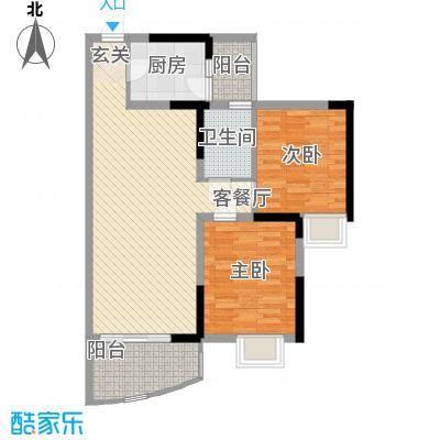 天邑宏御花园74.15㎡2期1-2栋标准层C-1户型2室2厅1卫1厨