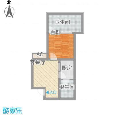 龙潭・温泉印象44.47㎡H户型1室1厅1卫1厨