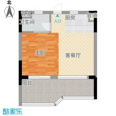 鹏欣白金湾5.20㎡B1-02户型1室1厅1卫1厨