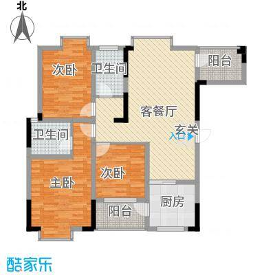 阳光城116.80㎡三期B区F1户型3室2厅2卫1厨
