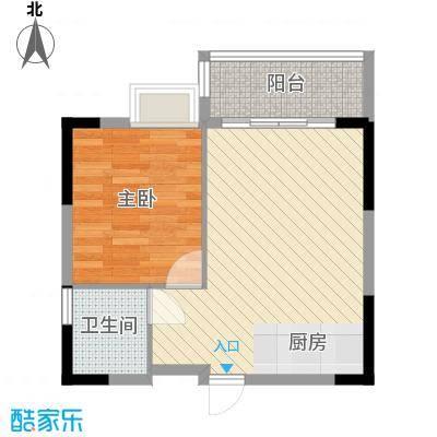 广汇东湖城47.20㎡10号楼A-3户型1室1厅1卫1厨