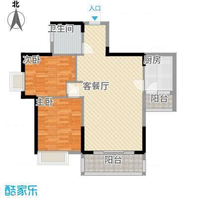 广汇东湖城87.51㎡13号楼C户型2室2厅1卫1厨