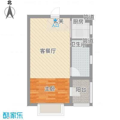 防城港恒大御景湾51.60㎡8-2号楼A/C户型1室1厅1卫1厨