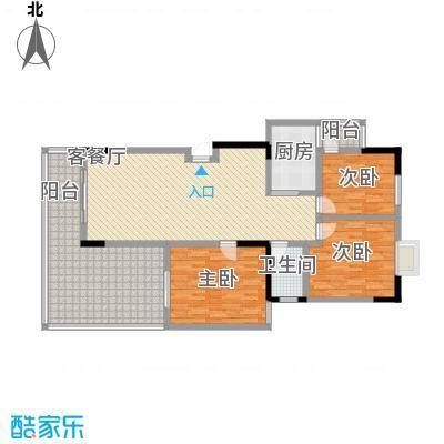 和谐家园116.62㎡E-1户型3室2厅1卫1厨