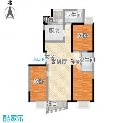 百乐门125.70㎡一期7#楼C户型3室2厅2卫