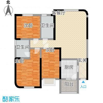 百乐门137.48㎡一期7#楼A户型3室2厅2卫