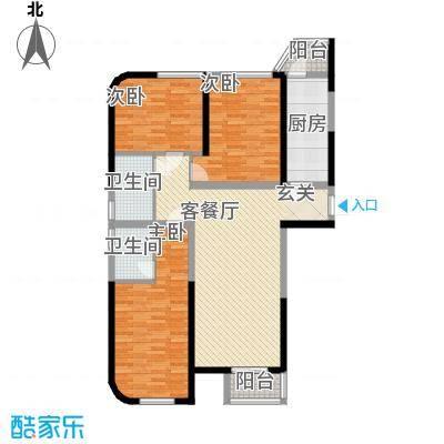 百乐门141.40㎡一期6#楼A户型3室2厅2卫1厨