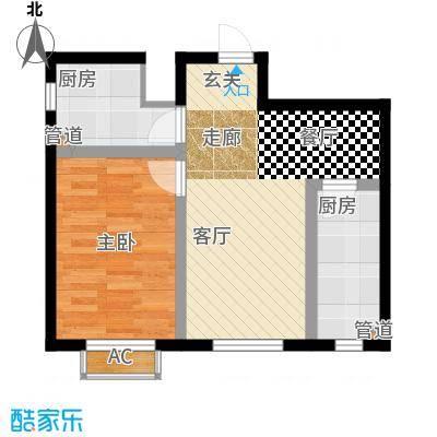 铭峰家苑58.48㎡一期7#L3户型2室2厅1卫1厨