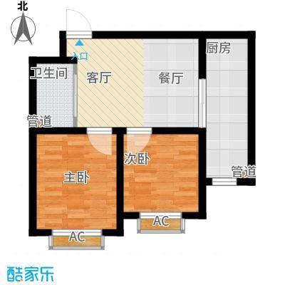铭峰家苑63.18㎡一期6#7#F4户型2室1厅1卫1厨