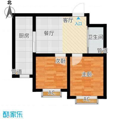 铭峰家苑62.00㎡一期6#7#F3户型2室1厅1卫1厨
