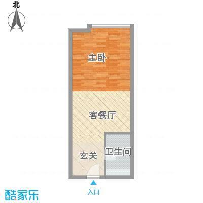 兴泰跨界公寓55.00㎡精致格调户型1室1厅1卫1厨