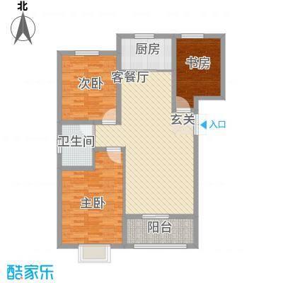 居然青年城114.40㎡G7号楼户型3室2厅1卫1厨