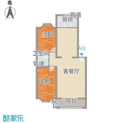 兰溪花园16.10㎡E2户型2室2厅1卫1厨