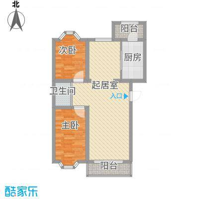 富民家苑83.15㎡E户型2室1厅2卫1厨