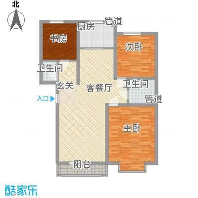明日星城东河花苑G2户型3室2厅2卫1厨