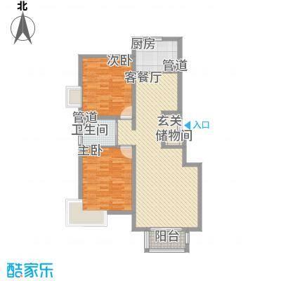 山水文苑1.84㎡户型2室2厅1卫1厨