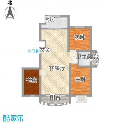 富贵佳园F2户型3室2厅1卫1厨