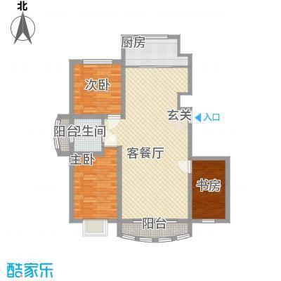 富贵佳园11.00㎡E1户型3室2厅1卫1厨