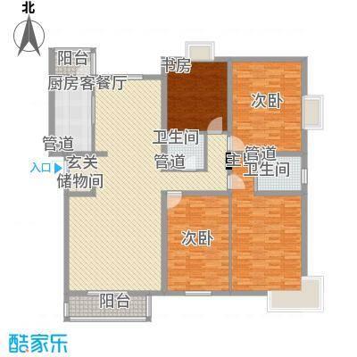 山水文苑178.83㎡户型4室2厅2卫1厨