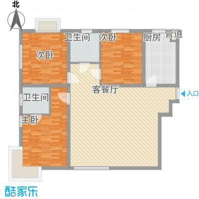 恒通国际公寓152.00㎡B户型3室2厅2卫1厨