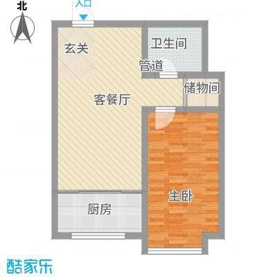 胜源滨河新城二期・泰茂天地82.30㎡F户型1室1厅1卫1厨