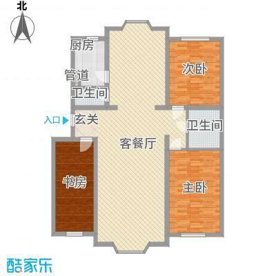 金碧花园15.00㎡f户型3室2厅2卫1厨