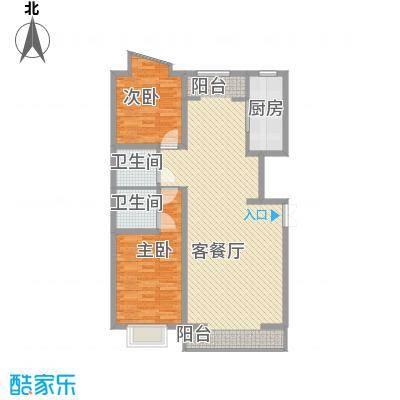 宁鹿水岸128.00㎡D户型2室2厅2卫1厨