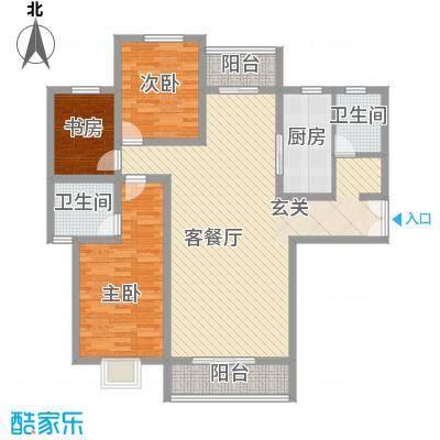 九郡世纪广场137.80㎡一期A户型2室1厅2卫1厨