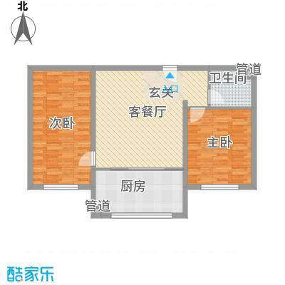 胜源・滨河新城6.60㎡A户型2室2厅1卫1厨
