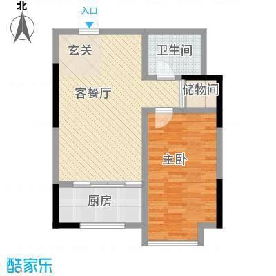 胜源・滨河新城77.63㎡B户型1室1厅1卫1厨
