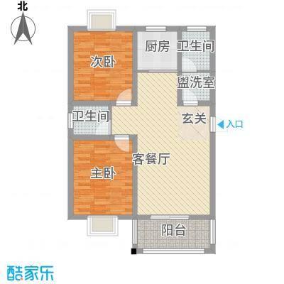 碧溪玫瑰园7.00㎡C1户型2室2厅1卫