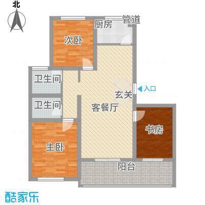 时代中通首府12.00㎡5户型3室2厅2卫1厨