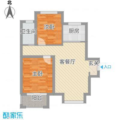 名仕花园74.30㎡5#楼A户型2室2厅1卫