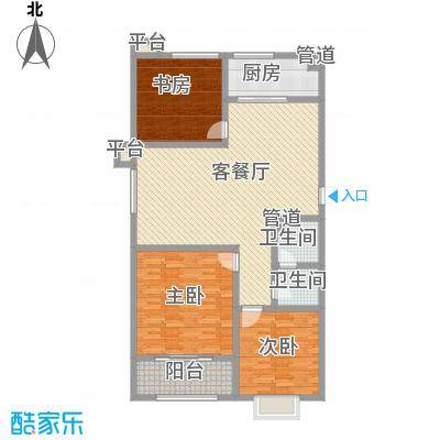 宝龙花园123.00㎡6#-A户型3室2厅1卫1厨